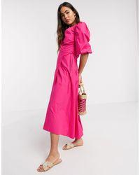 Stradivarius Розовое Поплиновое Платье Миди -розовый