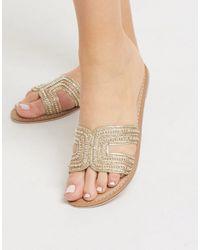 Accessorize Bella Beaded Flat Sandals - Metallic