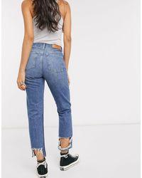 TOPSHOP Editor – Halbverwaschene Jeans mit geradem Schnitt und unverarbeitetem Saum - Blau