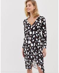 ASOS Asos Design Maternity Long Sleeve Textured Wrap Midi Dress - Black
