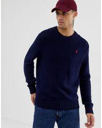 Polo Ralph Lauren Pull ras de cou en maille de coton épaisse - Bleu marine