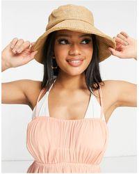 ASOS Structured Straw Bucket Hat - Brown