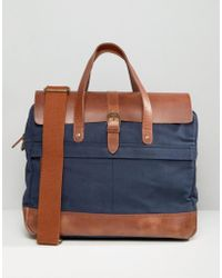 Timberland - Leather Trim Briefcase Navy - Lyst