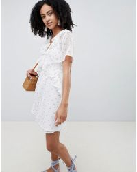 Lost Ink - Ruffle Front Mini Tea Dress In Ditsy Floral Print - Lyst