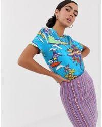 Love Moschino Tropical Graphic Print T-shirt - Blue