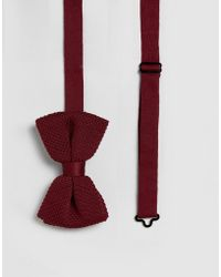 ASOS Knitted Bow Tie In Burgundy Marl - Red