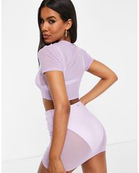 South Beach Stretch Mesh Crop Top And Ruched Skirt Co-ord - Purple