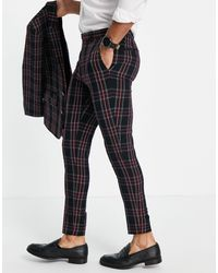ASOS Super Skinny Suit Trousers With Tartan Check - Black