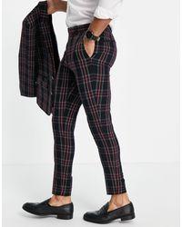 ASOS Super Skinny Suit Pants With Tartan Check - Black