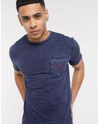 Polo Ralph Lauren Slub T-shirt Met Vlaglogo En Zak - Blauw