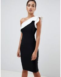 Vesper - Pencil Dress With exaggerated Sleeve In Color Block - Lyst
