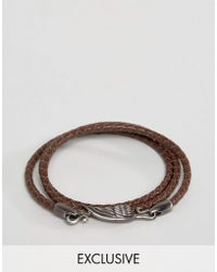Simon Carter - Brown Leather Wing Wrap Bracelet Exclusive To Asos - Lyst