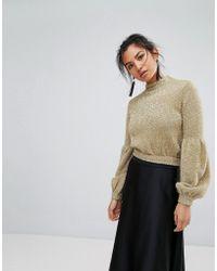 Keepsake Restless Knit Sparkle Sweater - Metallic