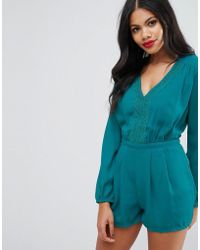 Girls On Film - Lace Trim Playsuit - Lyst