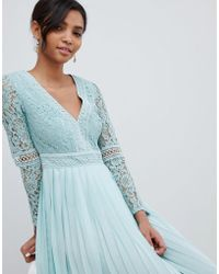 Little Mistress - Lace Top Midi Skater Dress With Pleated Skirt In Spearmint - Lyst