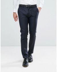 ASOS Skinny Suit Trouser In Navy 100% Wool - Blue