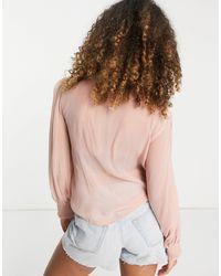 TOPSHOP Crosshatch Lace Blouse - Multicolour