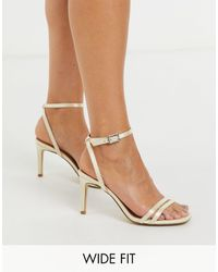Truffle Collection Wide Fit Bridal Square Toe Strappy Heeled Sandals - Multicolor