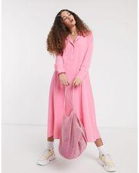 Monki Ada Shirt Midi Dress - Pink
