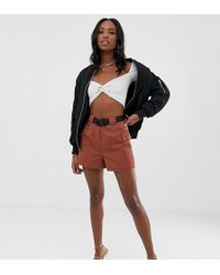 Missguided Belted Utility Shorts In Rust - Brown