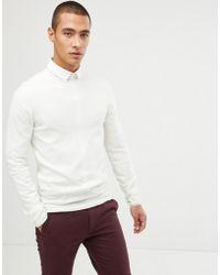 ASOS - Muscle Fit Merino Wool Jumper In White - Lyst