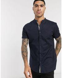 River Island Short Sleeve Oxford Shirt With Grandad Collar - Blue