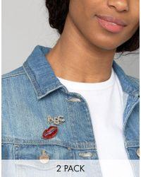 ASOS Pack Of 2 Glitter Lips Badge Pack - Multicolour
