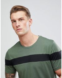 Only & Sons - Longline T-shirt With Cut And Sew Stripe - Lyst