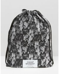 Cheap Monday - Lace Look Drawstring Backpack - Lyst