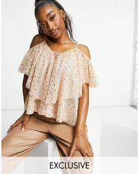 LACE & BEADS Розовый Топ С Оборками, Открытыми Плечами И Мелким Принтом Сердечками -розовый Цвет