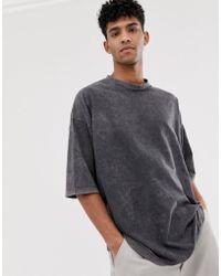ASOS Oversize-T-Shirt mit halblangen Ärmeln in Acid-Waschung - Grau