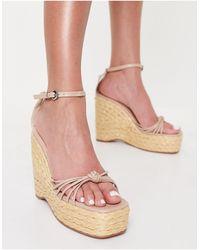 SIMMI Shoes Бежевые Босоножки-эспадрильи На Танкетке С Узкими Ремешками Simmi London Nadir-светло-бежевый - Многоцветный