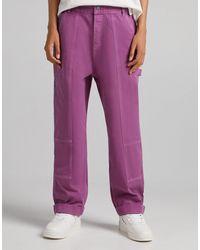 Bershka Wide Fit Carpenter Jeans Co-ord - Pink