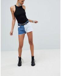PrettyLittleThing - Color Block Denim Shorts - Lyst