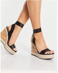 ASOS Tiffany Elastic Cork Wedges - Black