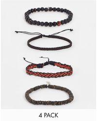 Icon Brand Набор Из 4 Красных Браслетов Из Бусин -красный