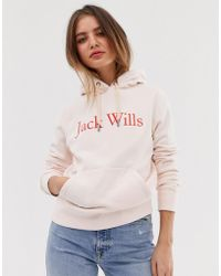 Jack Wills Hartford Pullover Hoodie With Logo - Pink