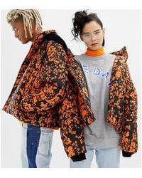 Collusion Unisex Printed Puffer Jacket With Removeable Hood - Multicolour