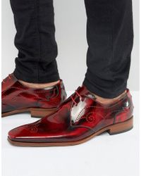 Jeffery West Scarface Leather Derby Brogues - Red