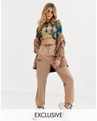 Ellesse Tracksuit Bottoms With Geo Print Drawcords Co-ord - Brown