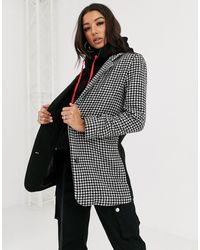 The Couture Club Mixed Check Hooded Crombie Jacket - Black