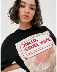 Bershka Camiseta negra con eslogan - Negro