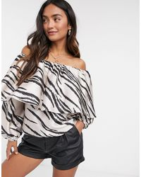 River Island Frill Layered Off-the-shoulder Top - Multicolour