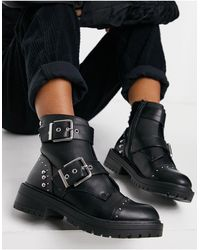 New Look Studded Buckle Boots - Black