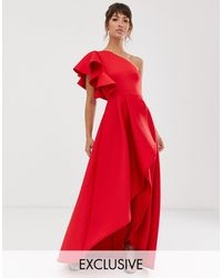 True Violet Frill One Shoulder High Low Prom Maxi Dress - Red