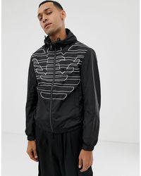 Emporio Armani Черная Двухсторонняя Куртка С Капюшоном И Логотипом -черный