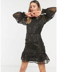 New Look Metallic Floral Mini Dress - Black