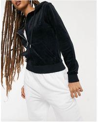 Juicy Couture Черная Супермягкая Куртка Из Велюра На Молнии С Капюшоном От Комплекта -черный