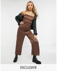 Reclaimed (vintage) Inspired Ruched Cami Satin Jumpsuit - Brown