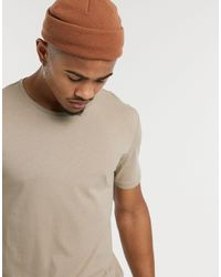 Only & Sons Longline Curved Hem T-shirt - Natural
